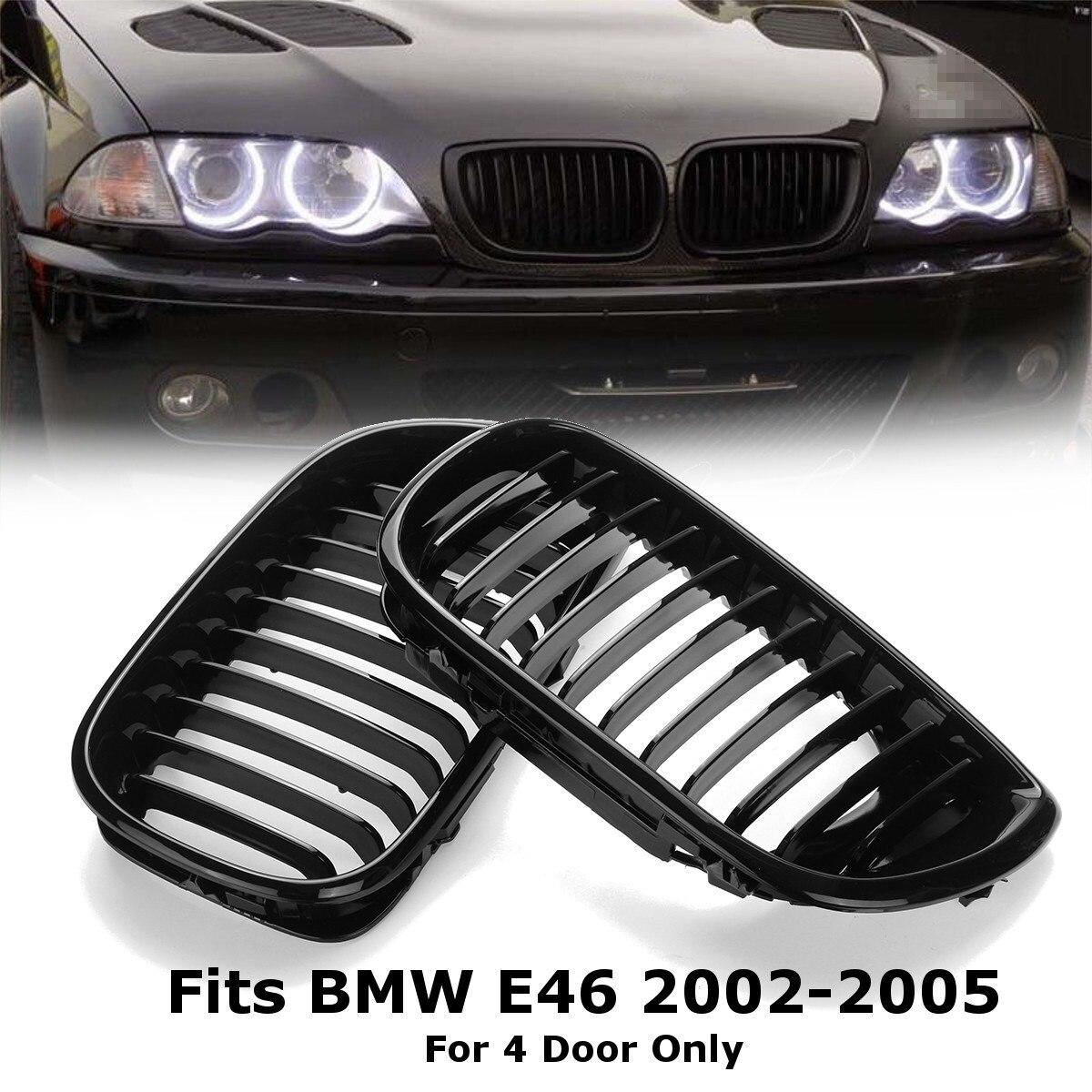 2 pièces Noir Brillant Avant De Voiture Rein Gril Pour BMW E46 LCI 4D 325i Lifting 2002 2003 2004 2005