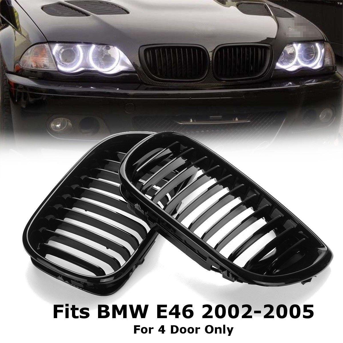 Fits for BMW E46 3er Saloon//Touring 2002-2005 Kidneys Grille Chrome New