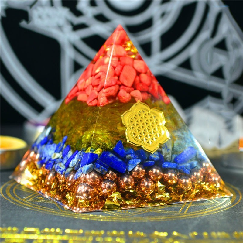 Gathering Fortune Orgonite Pyramid Reiki Feng Shui Decoration Crystal Rune Orgone Accumulator Resin Decorative Craft Jewelry