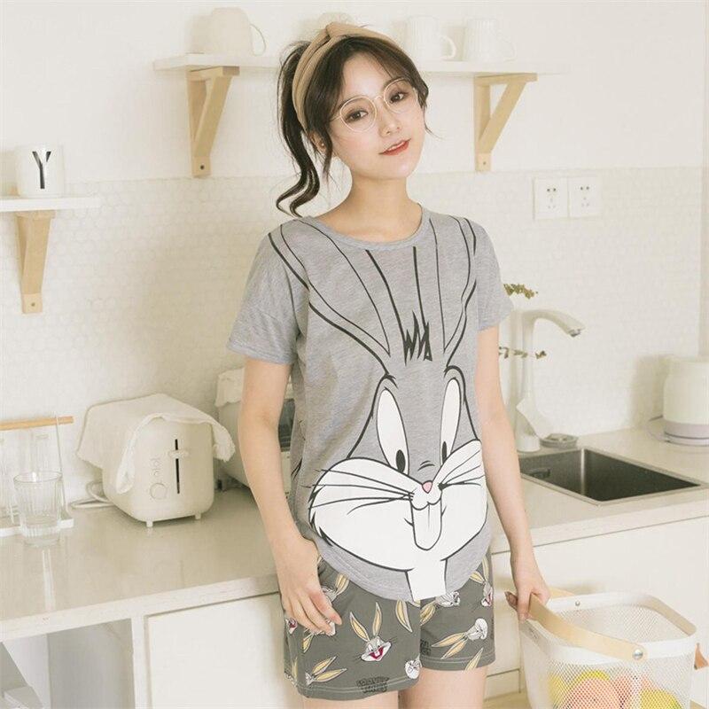 2019 Women   Pajamas     Set   Summer Pyjamas Lady Cartoon Sleepwear Short-sleeved T-shirt + Casual Shorts Home Clothing Lovely Nighties