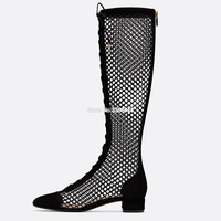 2019 Fashion Transparent Mesh Stretch Fabric Lace Up Sock Boots Chunky Low Heels Pointed Toe Knee High Woman Boot Black