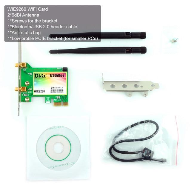 Carte WiFi Ubit, AC 1730 Mbps, carte réseau sans fil double bande Bluetooth 5.0, adaptateur 9260 PCIe, sans fil PCI-E pour ordinateur de bureau 1