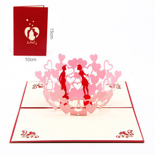 Pink ValentineS Day Card 3D Stereo Greeting Lovers Paper-Cut Engraving Postcard Gift