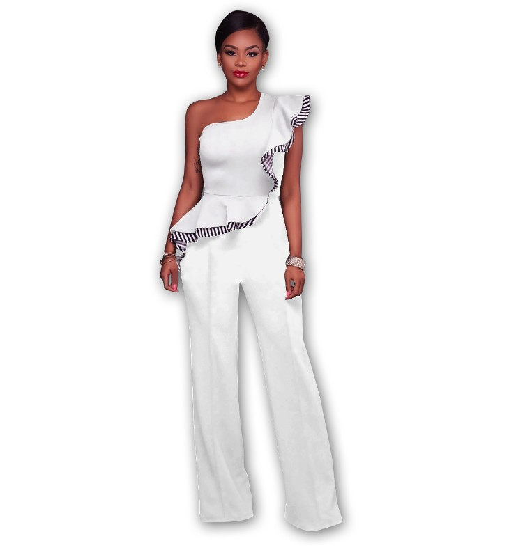 Summer Skew Neck Casual Rompers Women Wide Leg Pants Overalls Sexy Jumpsuit Solid Off Shoulder Ruffles Playsuits in Jumpsuits from Women 39 s Clothing