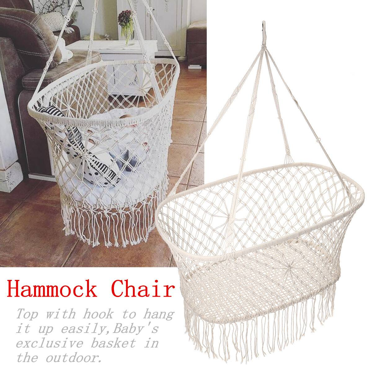 Cotton Rope Tassel Hammock Chair Swing Hammock Children Rocking Sleep Bed Indoor Outdoor Hanging Sest Child Swing Seat 1