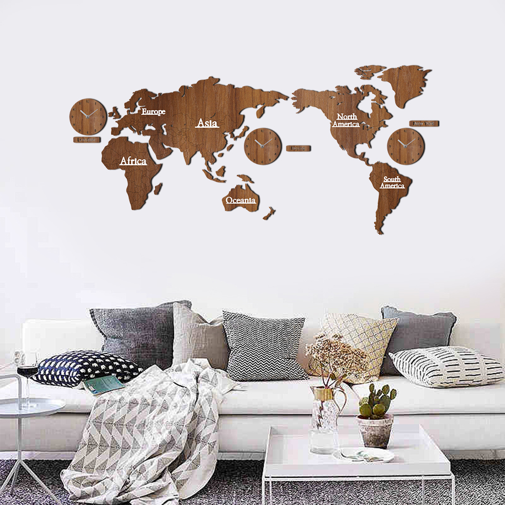 New Creative World Map Wall Clock Wooden Large Wood Watch Wall Clock Modern European Style Round Mute Relogio De Parede-in Wall Clocks from Home & Garden    1
