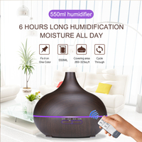 550ml Wooden Aromatherapy Diffuser Essential Oil Diffuser Ultrasonic Humidifier For Home Car With Remote And US Plug
