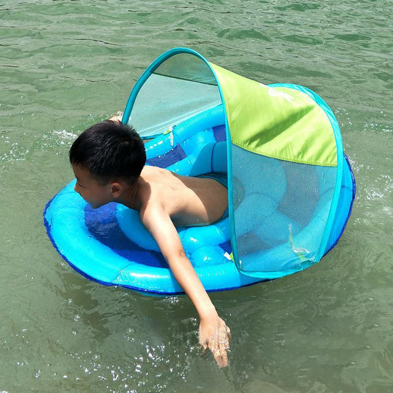 Inflatable Baby Swimming Seat With Awning Shade Children's Swimming Ring Mesh With Bottom Pocket Kids Outdoor Beach Toy