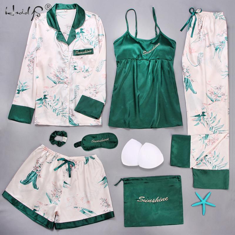 2019 Summer Women's Pajamas Embroidery 7 Pieces Pajamas Sets Stain Faux Silk Pajamas Autumn Women Sleepwear Sets With Bra Pad