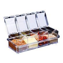 Кухонная Изысканная акриловая коробочка для приправ с 4 сервировочными ложками приятный дизайн для кухни(коробка для приправ