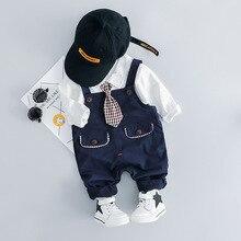 Spring Autumn Infant Clothes Suits Baby Boys Girls Clothing Sets Gentleman Tie Shirt Pants 2Pcs/Set Children Cottin Tracksuits цены