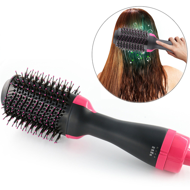 Dropshipping Electric Heating Comb Hair Straightener Curler Professional Salon One Step Dry/Wet Two Use Hair Dryer Massage Brush 1