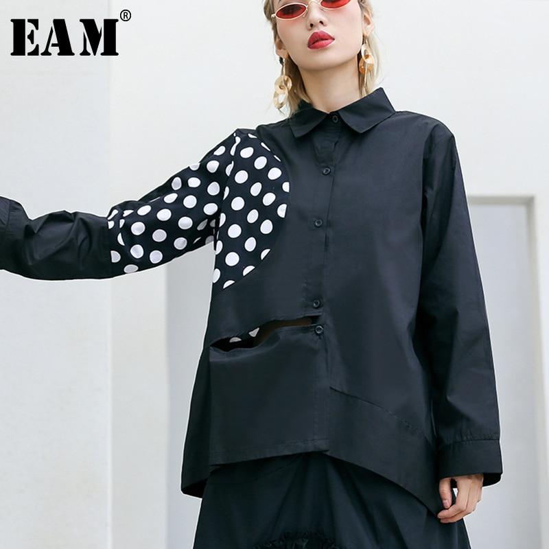 [EAM] 2019spring Summer Woman New Black Spliced Dot Pattern Long Sleeve Turn down Collar Single Breasted Loose Short Shirt LI440