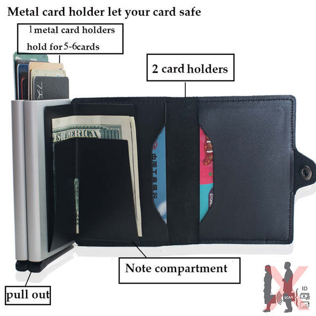 a692721cd7e2 VM FASHION KISS RFID Wallet Safe Genuine Leather 2 Aluminum Box Credit Card  wallets Anti Scanning Information Business Card Hold