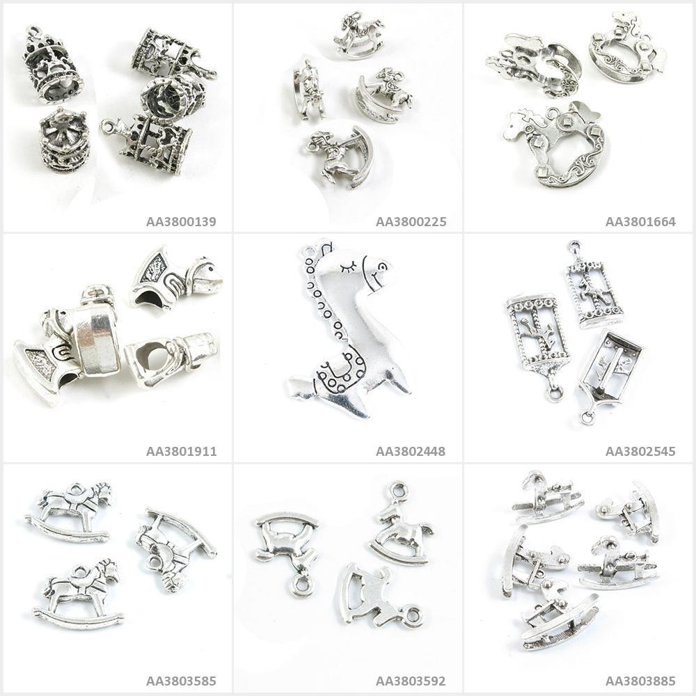 Antique Silver Tone Jewelry Making Charms Rocking Horse