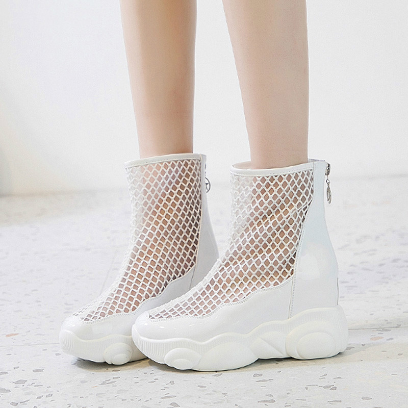 SWONCO Shoes Woman Sneakers 2019 Summer Ladies Casual Shoes White/black Increase Wedge Anle Boots Mesh Boots Breathable Back ZipSWONCO Shoes Woman Sneakers 2019 Summer Ladies Casual Shoes White/black Increase Wedge Anle Boots Mesh Boots Breathable Back Zip