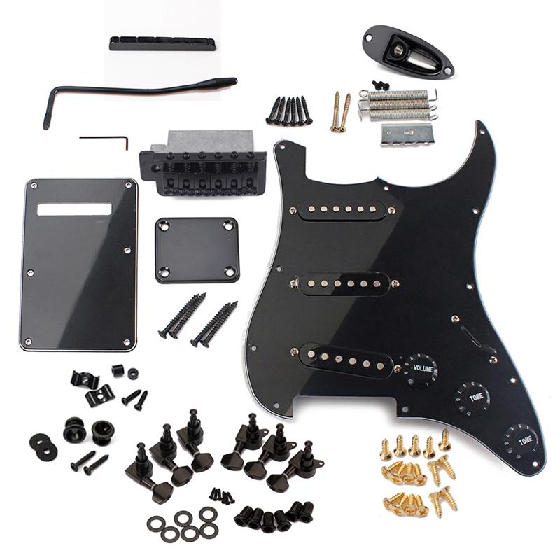 DIY Electric Guitar Kit Pickguard Back Cover Bridge System ST Style Full Accessories Kit For Guitar Replacement Parts-in Guitar Parts & Accessories from Sports & Entertainment
