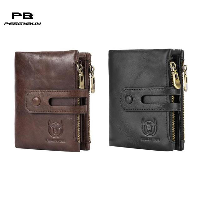 ef069fe048 US $14.73 22% OFF|Bullcaptain RFID Antimagnetic Vintage Genuine Leather 14  Card Slots Coin Bag Wallet Men Purse High Quality Male Card ID Holder-in ...