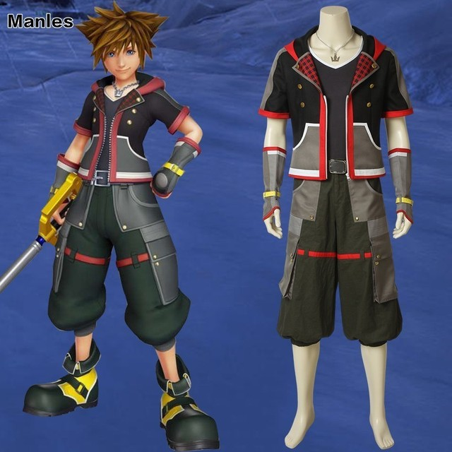 Game Kingdom Hearts 3 Cosplay Sora Costume Necklace Shirt Anime Carnival Adult Costumes Halloween Custom Made Sweater Jackets