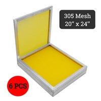 doersupp 6pcs/set 350T Mesh Yellow Aluminum Silk Screen Printing Press Frame Screens Out Size 50x60cm