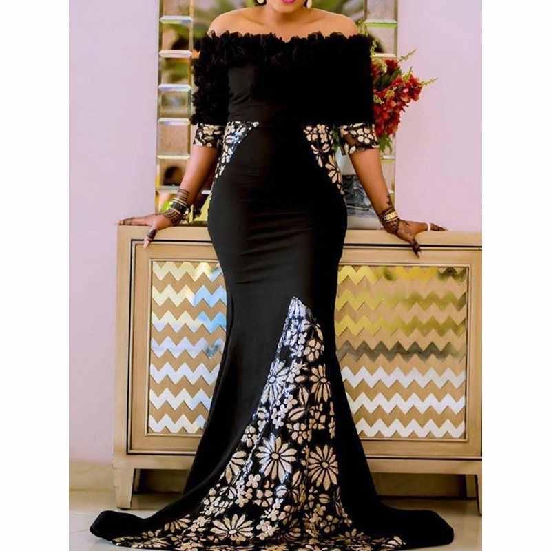 Сексуальное женское облегающее платье Черные Длинные Макси-Платье рубашка Porm с открытыми плечами и принтом Русалка Вечерние ужин элегантные длинные труба платье 2019