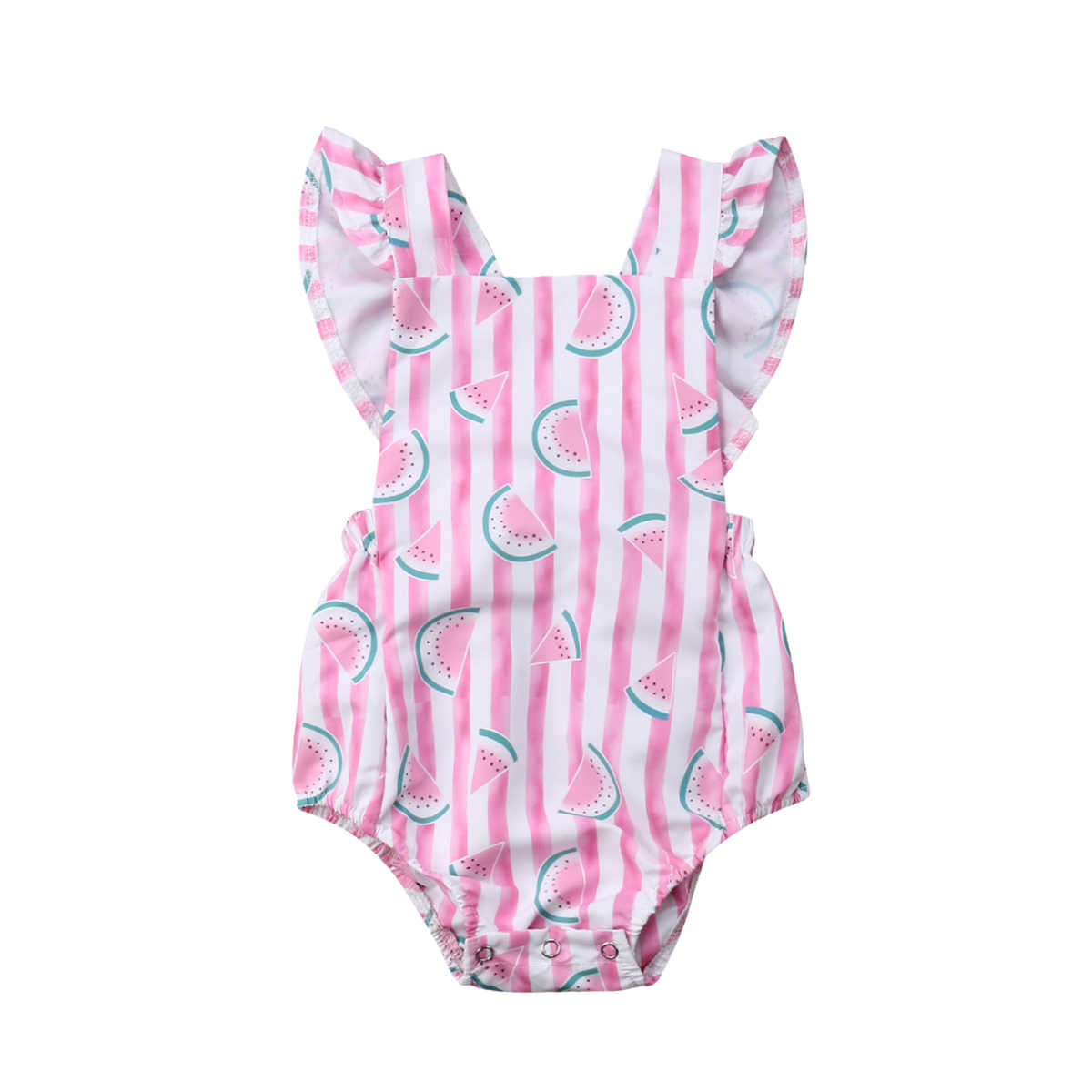 4f2a8feae053 Summer Toddler Newborn Baby Girl Clothes Sleeveless Infant Girl Jumpsuit  Playsuit Ruffles Sleeve Backlesss Watermelon Clothes