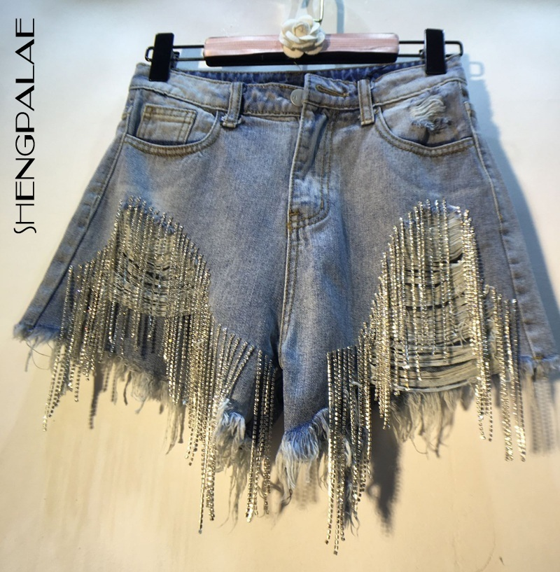 SHENGPALAE 2019 Summer European Style High Quality Tassels Diamond Beads High Waist All-match Denim   Shorts   Woman Fashion FN168