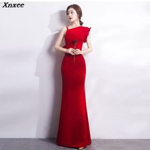 Xnxee Sexy One Shoulder Red Cotton Slim Mermaid Sleeveless Long Elegant Women Party Dress