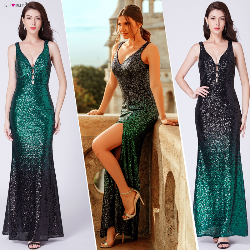 Ever Pretty Gold Prom Dresses V neck Sleeveless Mermaid Sparkle Long Party Gowns 2019 Women's Sexy Sequined Vestidos De Gala-in Prom Dresses from Weddings & Events