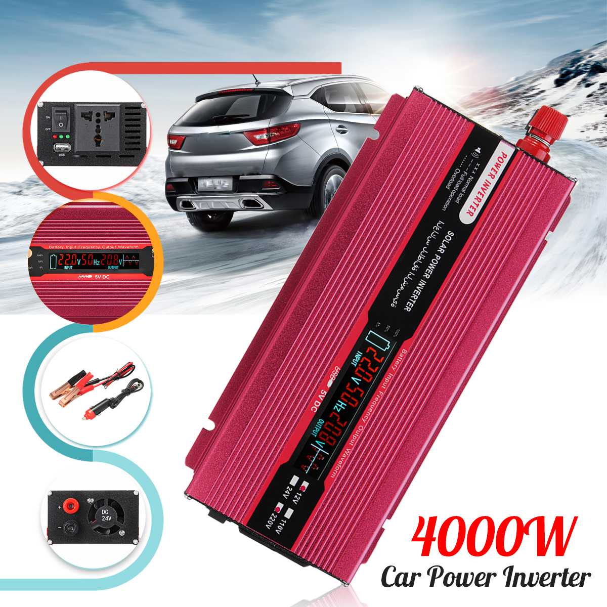 12/24V To AC 220/110V PEAK 4000W Car Power Inverter USB Modified Sine Wave Converter Voltage Transformer Display Efficiency 12 24v to ac 220 110v car power inverter converter peak 10000w usb modified sine wave voltage transformer universal intelligent