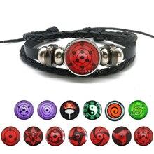 Sharingan Eye Bracelet Anime Naruto Braided Leather Sasuke Uchiha Clan Rinnegan Taichi Kakashi Cosplay Jewelry