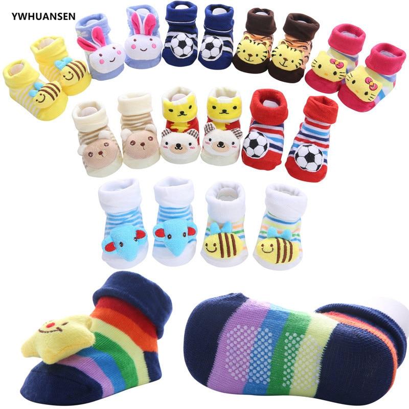 YWHUANSEN Toddler Cartoon Newborn Baby Girls Boys Anti-Slip Floor Socks Cute Infant Kids Animal Cotton Leg Warmers Striped Socks