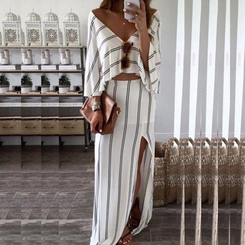 Summer Beach Lady Party Dress Maxi Long Slit Skirt V Neck Crop Top Two Piece Set