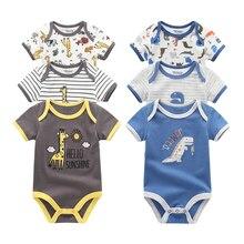 Г., 3 шт./лот, одежда для маленьких мальчиков с единорогом Одежда для новорожденных девочек боди из хлопка для детей от 0 до 12 месяцев, одежда для девочек Roupas de bebe