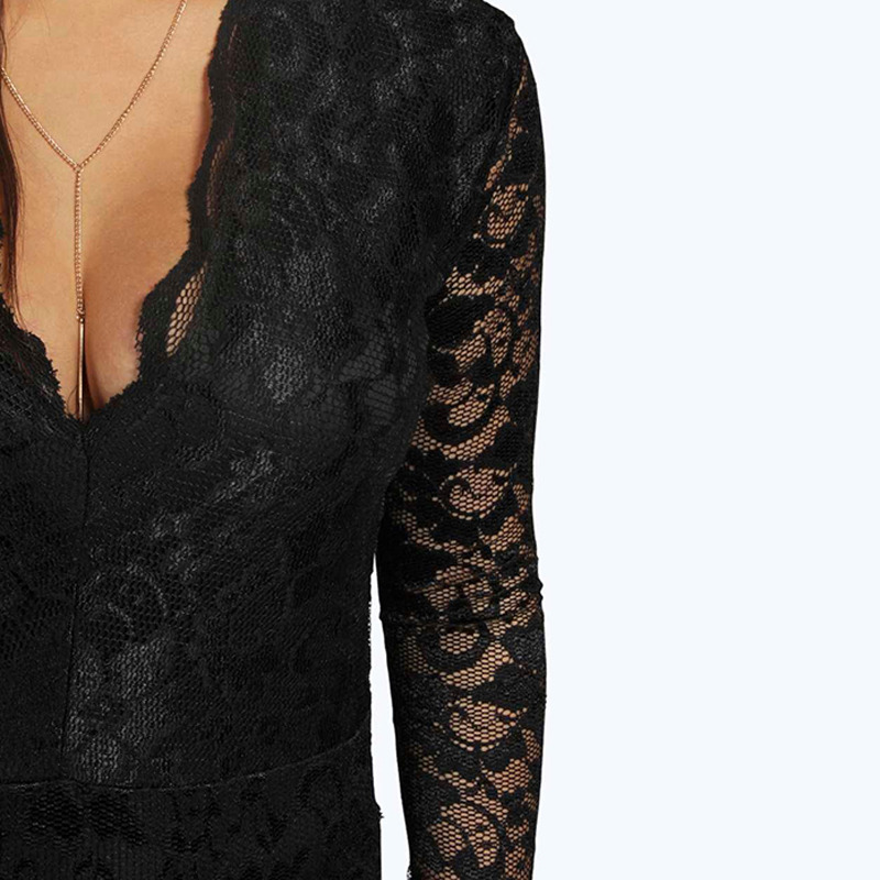 HDY Haoduoyi 2019 Plus Size Summer Women Sexy V-Neck Long Romper Big Large Size Lace Patchwork Skinny Jumpsuit 3XL 4XL 5XL 6XL
