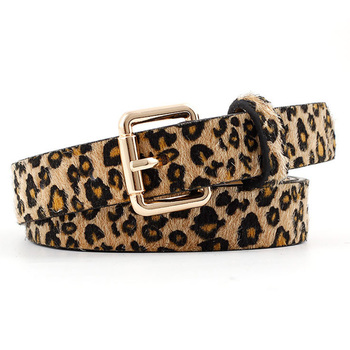 Fashion Horsehair Leopard Belt Square Gold Metallic Pin Buckle Belts Accessories Luxury Jeans Belt Black White Red Women Belts belt