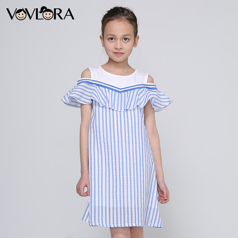 цены Girls Dress Striped Sleeveless Ruffles Kids Dresses O-neck Tops Tank Children Clothes Summer 2018 Size 9 10 11 12 13 14 Years