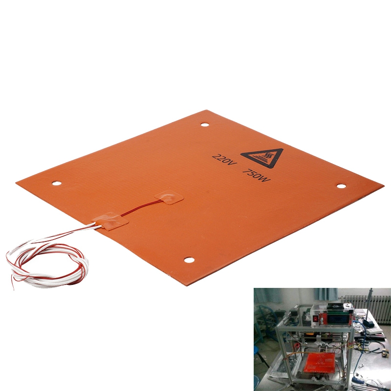 750w 220v 310*310mm Silicone Heated Bed Heating Pad For CR-10 3D Printer
