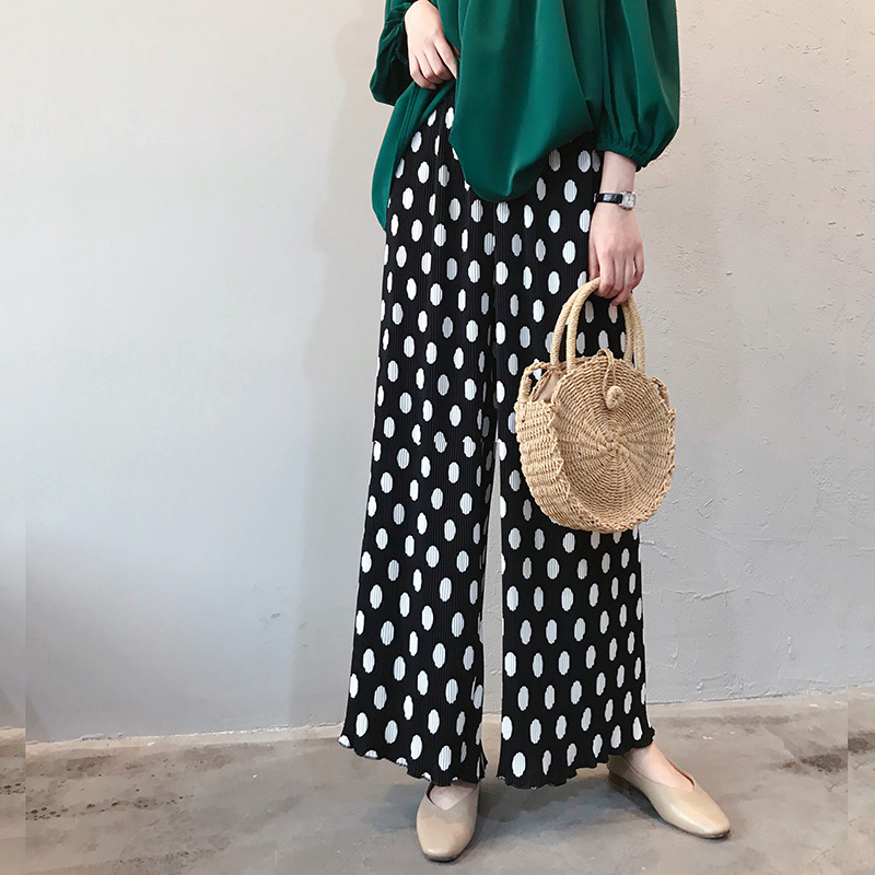 Summer Polka Dot   Wide     Leg     Pants   High Waist Pleated Stripe Loose Women Summer Straight   Pants