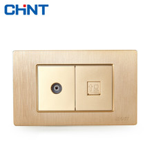 CHINT Electric Two Position Television Computer Socket 118 Type Switch Sockets NEW5D Brushed Gold Embedded Steel Frame TV