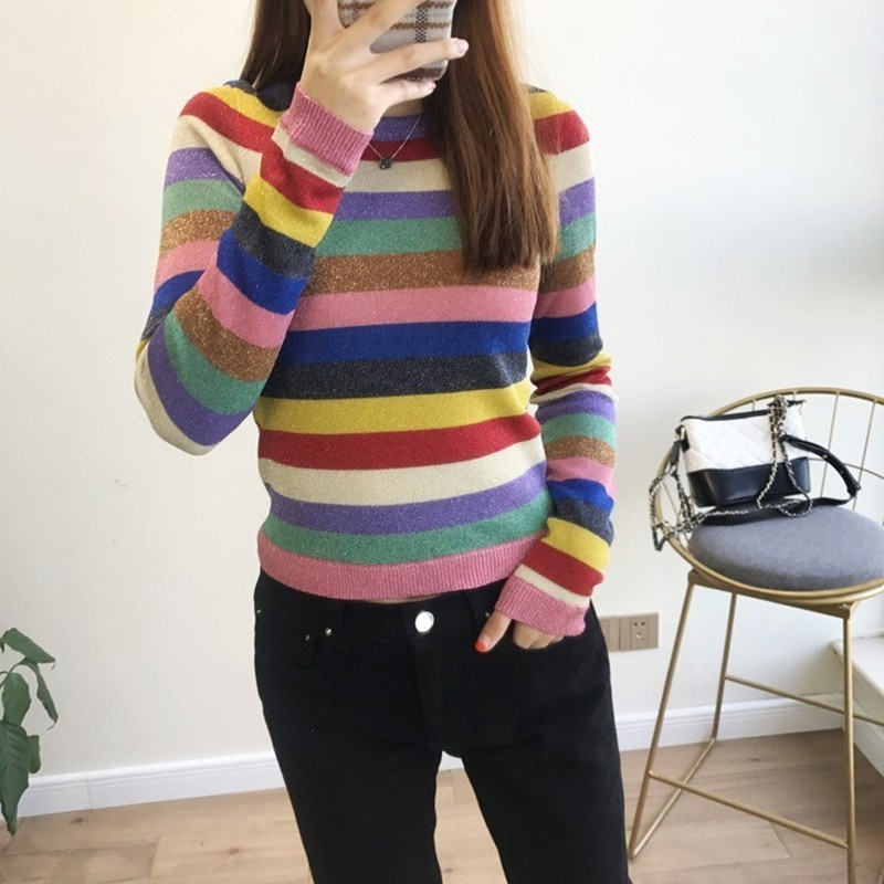 Women Knitting Sweater Long Sleeve Colourful Stripe O Neck Women Casual Slim Pullovers 2019 Spring Clothings
