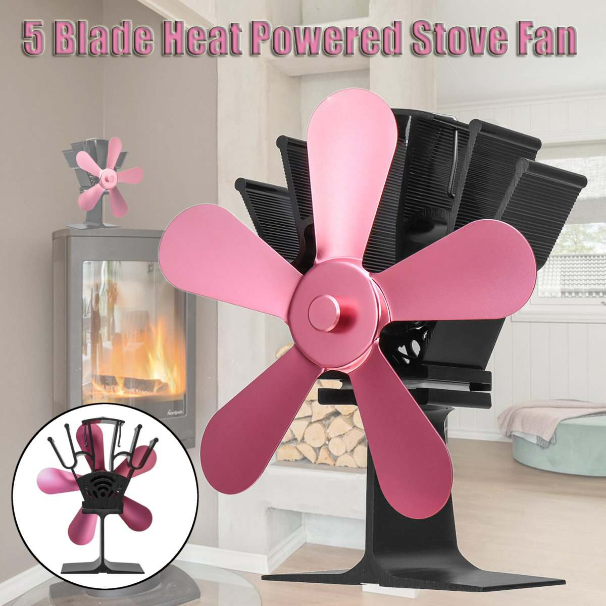 5 Blades Heat Powered Stove Fan Log Wood Burner Ecological fan Quiet Home Fireplace Fan Efficient Heat Distribution