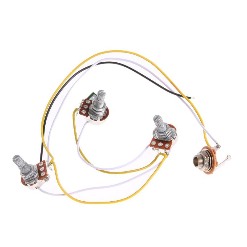 1Set Wiring Harness-Prewired 2V1T1J for JB Bass Guitar with 3-500k Pots 60g Durable Guitar Cable Harness Guitar Switchcraft Jack