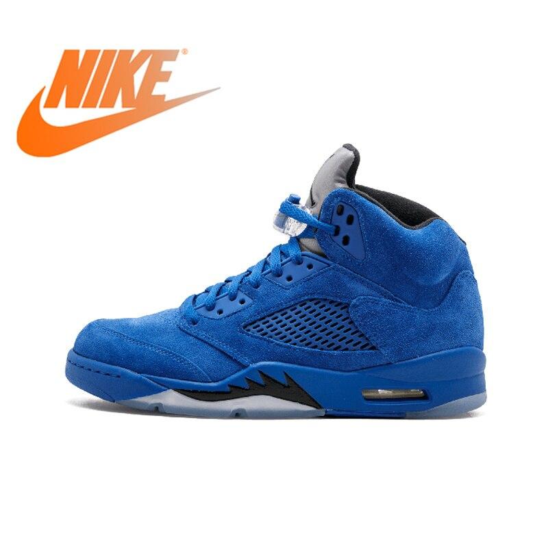 Officiel Original Nike Air Jordan 5 Retro Bleu Daim basketball pour hommes Chaussures Respirant Coupe Moyenne Professionnel Baskets 136027
