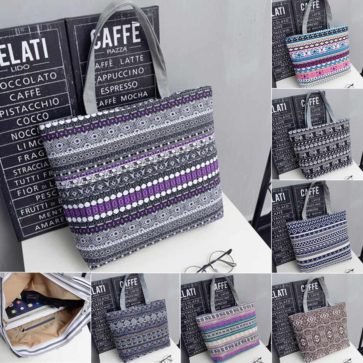 2019 Feminina Bolsa Women Large Capacity Tote Canvas Shoulder Bags Shopping Bag Beach Bags Casual Tote Striped Floral Handbag