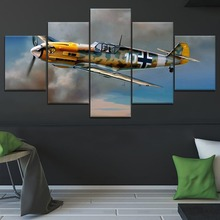 5 Panel Messerschmitt Bf 1 Military War Canvas Printed Painting For Living Room Wall Decor HD Picture Artworks Poster