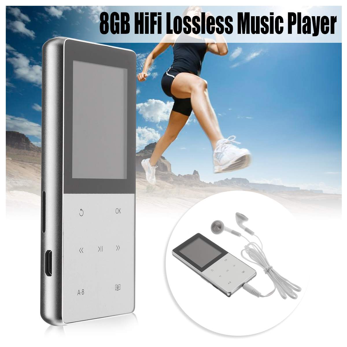 1.8inch Bluetooth Sport MP3 Player HiFi Lossless Music Player Portable Audio 8GB A6 TFT LED HiFi Screen FM USB SD with Earphone