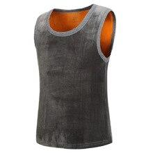 #3621 2018 Autumn Winter Vest Men Keep Warm 95% Cotton Round Neck Thickening Vest Male Fleece Slim Waistcoat Plus Size XXXL