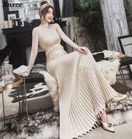 High Quality 2019 Autumn Winter Long Knitting Dress Fashion Women Stand Collar Slim Thicken Warm Sweater Pleated Dress