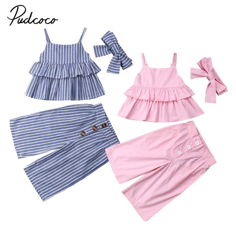 902472c288c8 Detail Feedback Questions about 2019 Brand Newborn Kids Baby Girl Clothes  Summer New Fashion Ruffle Striped Tops Vest Wide Leg Pants Outfits Holiday  2Pcs ...